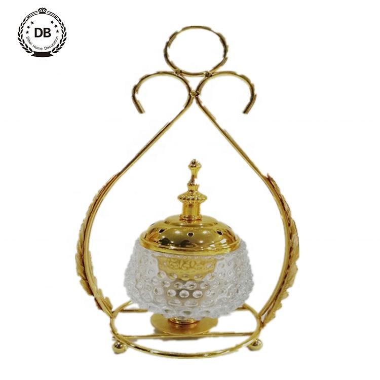 Alta calidad oriental incensario árabe cristal quemadores de incienso titular de hecho de vidrio de metal de quemador de incienso