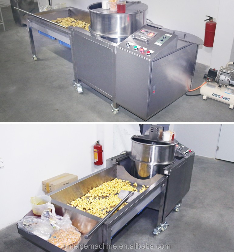 Large scale electric magnetic heating  caramel chocolate coating sweet  popcorn making machine