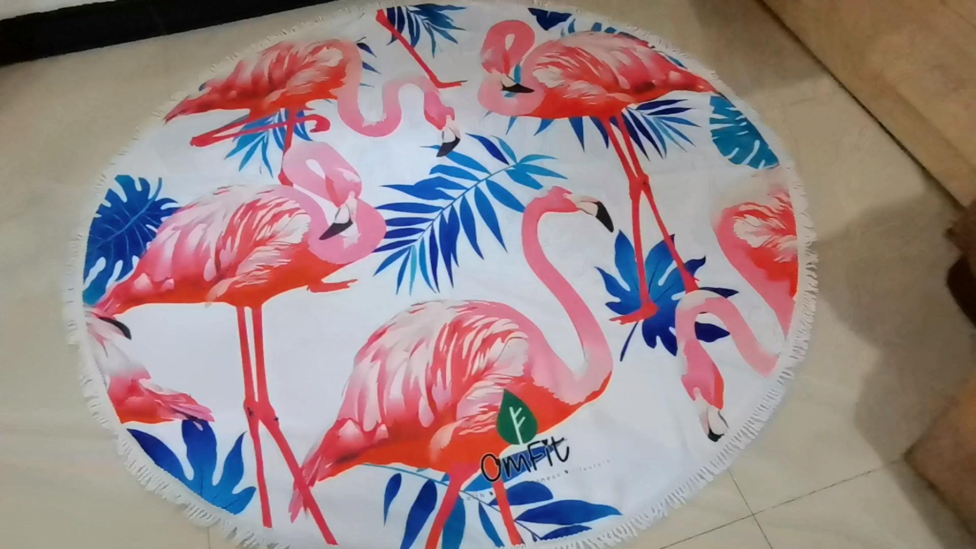 ขายส่งที่กำหนดเองขนาดใหญ่แฟชั่นสีชมพู Flamingo พิมพ์รอบชายหาดผ้าขนหนูพู่