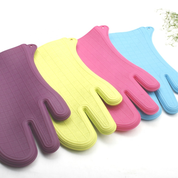 Flexible Non Slip Surface Silicone Dishwashing Gloves With 3 Fingers For Grilling BBQ Kitchen Baking