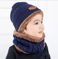 Korean Style 2pcs/set Thick Winter Children Warm Hat And Scarf Kid Woolen Yarn Hat Scarf Set