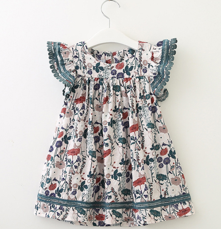 cy12441a European Style Kids Dress New <strong>Design</strong> <strong>Girls</strong> Dress Cute Baby Floral Dress