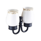 Bobao Sanitary Ware Antique Wall Mounted Ceramic And Brass Black Double Tumbler Holder Cup Tumbler Holder