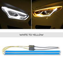 2x для hyundai i10 i20 i30 Santa Fe IX35 Sonata светодиодные полосы наклейка на фары автомобиля DRL дневные ходовые огни динамический сигнал поворота(Китай)
