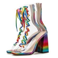 2020 женские босоножки на платформе с высоким каблуком 10 см; женская обувь для стриптиза; прозрачная Радужная обувь с ремешками на массивном к...(Китай)