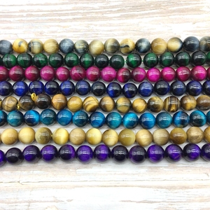 Natural Stone Colorful Tiger Eye Round Beads Strings For DIY Bracelet Necklace Bead Strand Pink Blue Green Yellow Orange