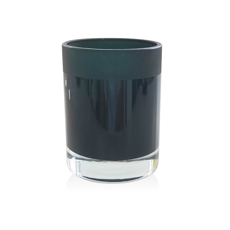 Mescente wholesale luxury custom empty matte black candle holder metal frosted glass candle jars with wooden lids in bulk