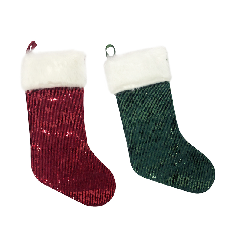 Wholesale ornaments glitter stockings modern Fuzzy Christmas Socks