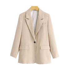 Женский пиджак на одной пуговице KPYTOMOA, винтажный пиджак с длинными рукавами и карманами, верхняя одежда для офиса, 2020(Китай)