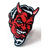 Custom skull clothing embroidery patch factory minimum order quantity eager border iron patch
