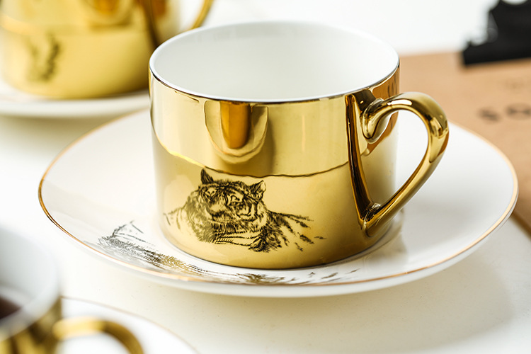 8OZ Custom Eco Friendly Coffee Cup Ceramic Unique Electroplated Reflection Mirror Cup And Saucer Set Porcelain