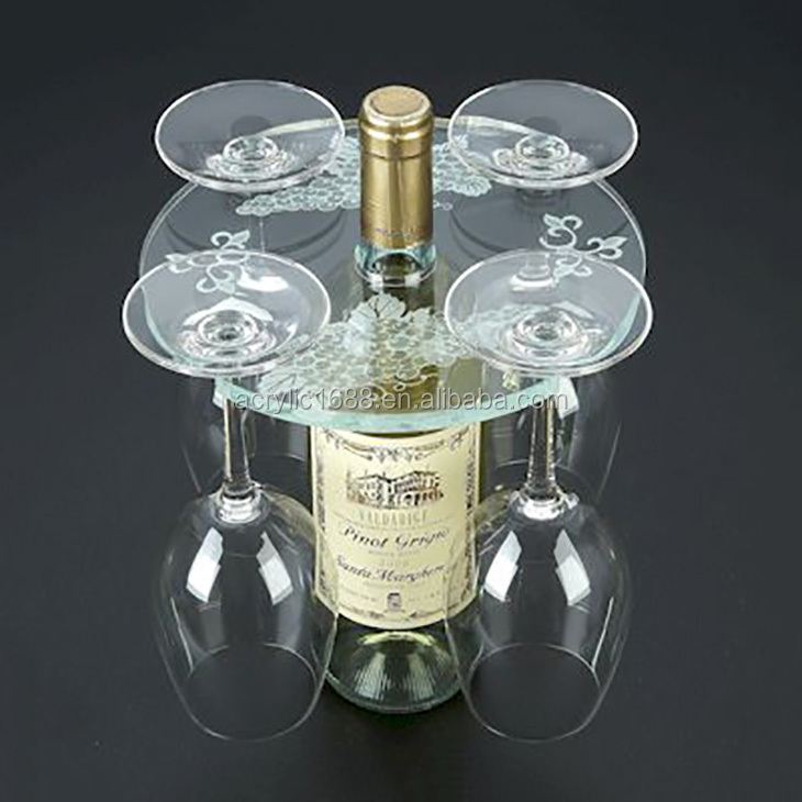 Round clear acrylic four wine glass holder