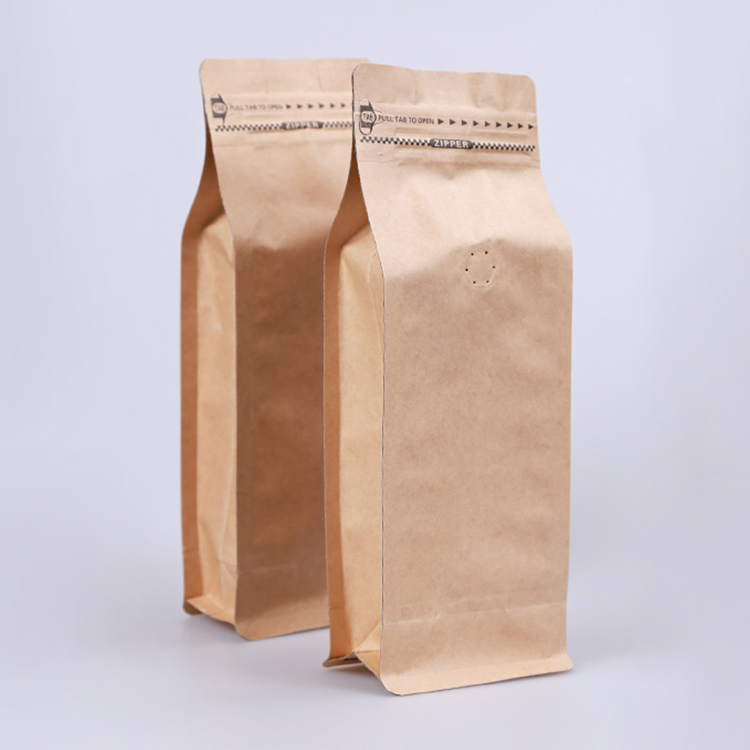 Heat Sealed Recyclable Brown Kraft Craft Paper Pouch 1Kg Empty Flat Bottom Coffee Bean Packaging Zipper Coffee Bag With Valve