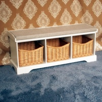 Bedroom Furniture Ottoman Cushion Shoe Cabinet Entryway Storage Bench