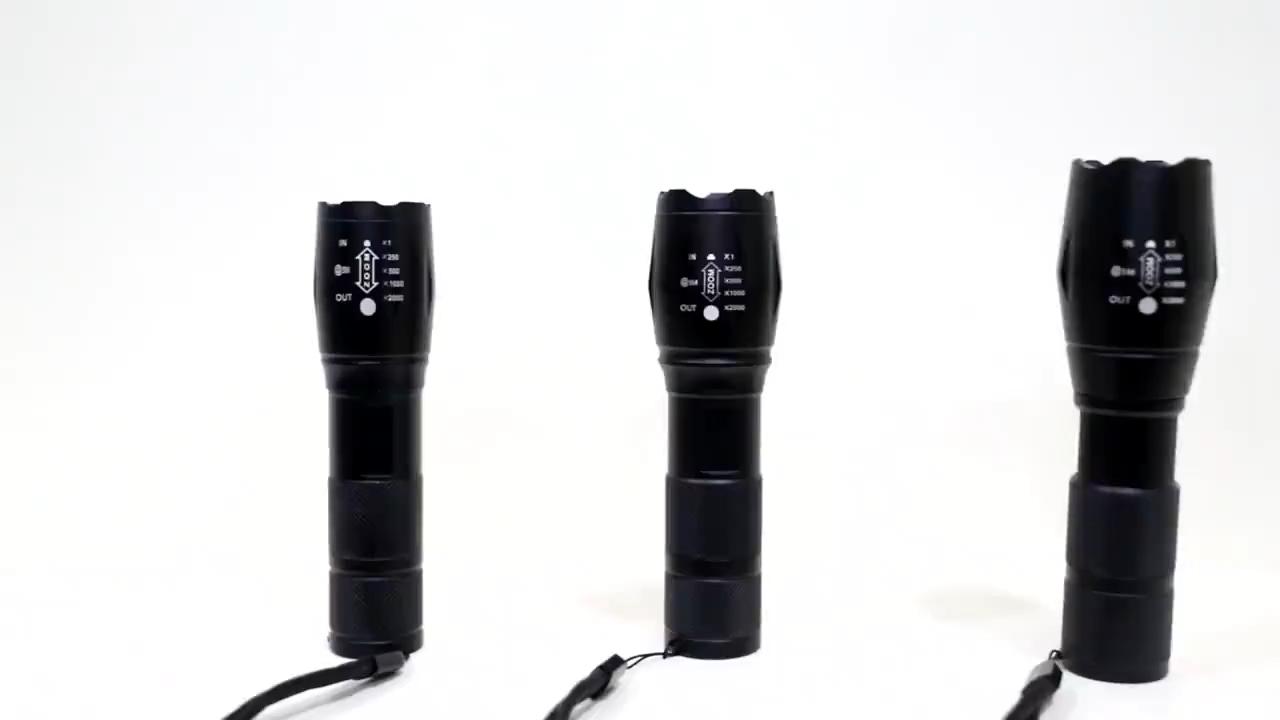Linterna Lampu Senter Led 1000 Lumens 5Mode, Senter Led AAA Bisa Diisi Ulang Daya Taktis Pertahanan Diri Berburu Baterai 18650