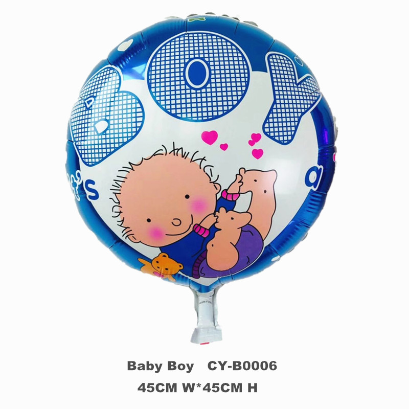 "Happy Birthday Party Baby Balloon 18"" Round Shape Baby Boy Helium Foil Balloons For New Born Party Decoration Balloon"