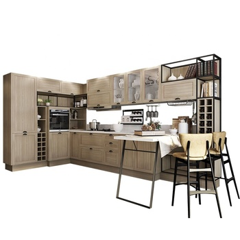 OPPEIN factory supplier customized wood grain furniture with shaker kitchen cabinet doors