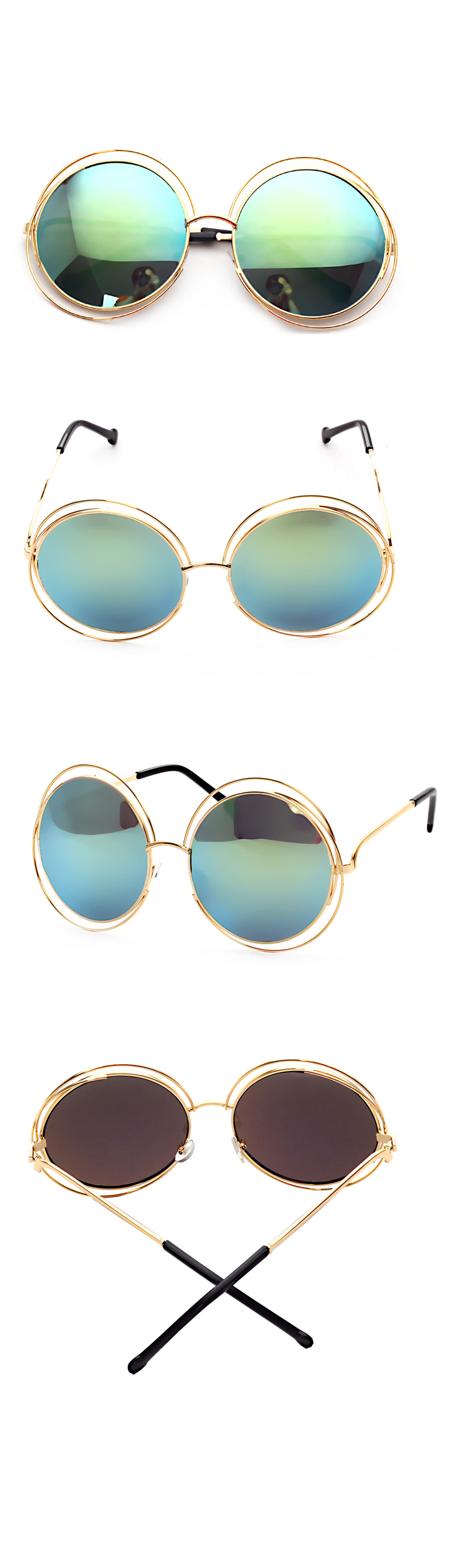 Designer Glasses Authentic Mirror Oversize Acetate Round Hollow Double Coil Women Sunglasses