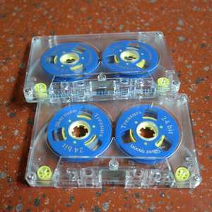 Blank Audio Cassette with Two Reels Cassette, Blue and Yellow Color, Cassette Tape.