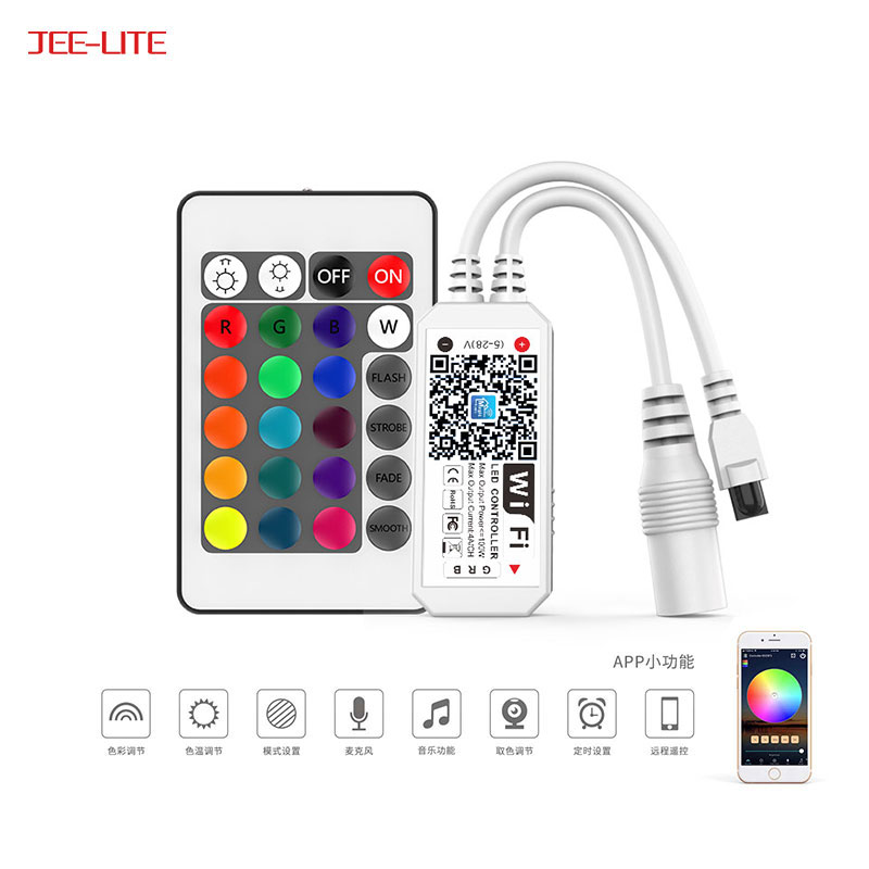 Smartphone android ios amazon alexa DC5-28V 3ch rgb led strip mini ir 24 keys wifi controller for led strip light
