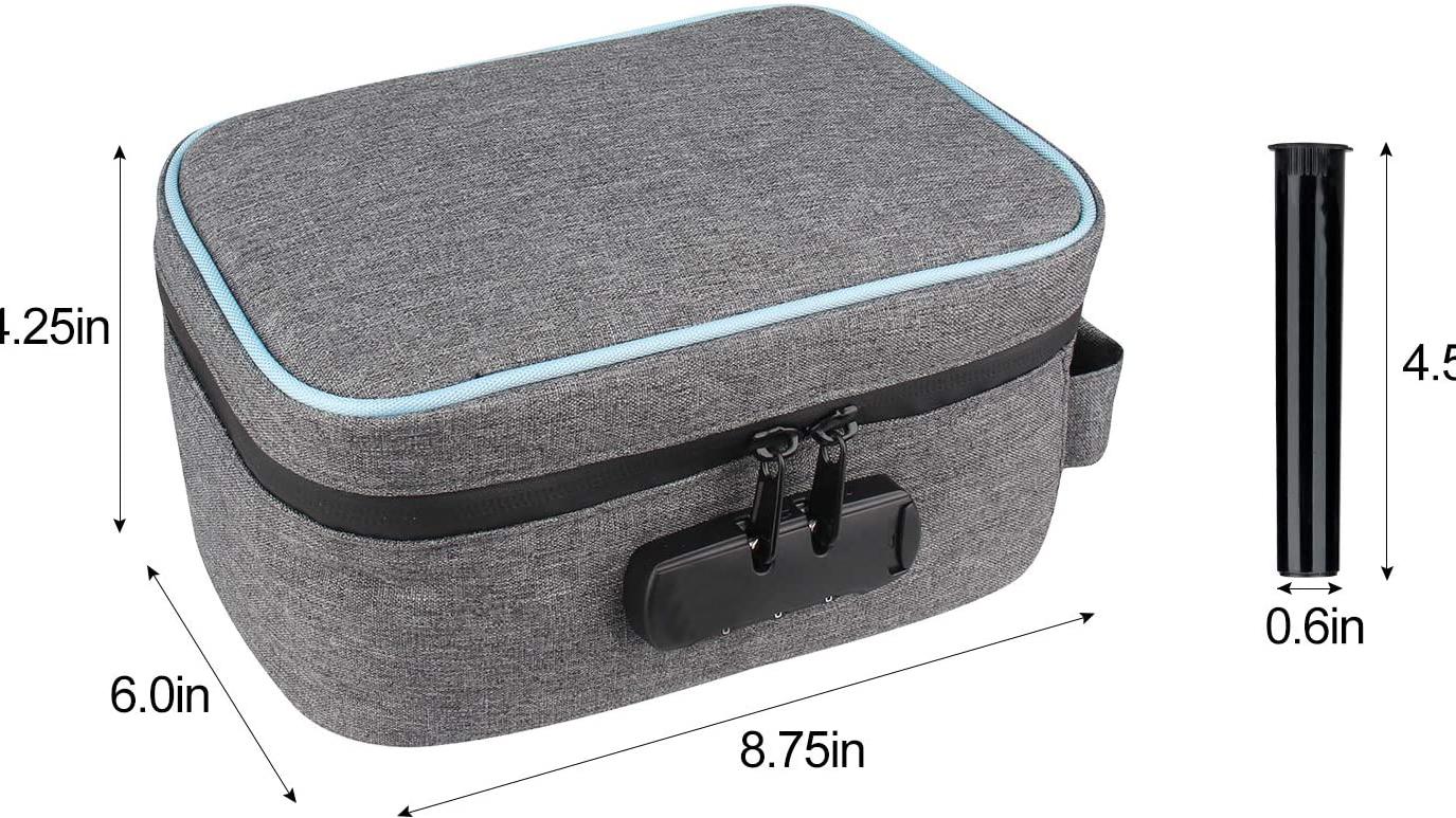 Custom Kruid Tabak Weed Smellproof Lock Case Travel Geur Proof Carbon Gevoerd Geur Proof Bag