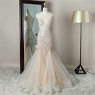 The latest design floral tulle sweep train spaghetti heavy beaded tulle long evening dress