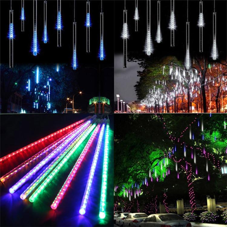 สีฟ้าไฟฝนดาวตก LED ฝนตกไฟสำหรับงานแต่งงานกลางแจ้งตกแต่งวันหยุดคริสต์มาส 30 ซม.8 หลอด