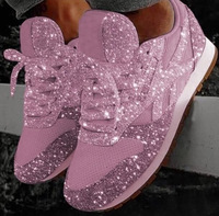 Women Flat Glitter Sneakers Female Mesh Lace Up Flat Bling Shoes Female Crystal Platform Comfort Casual Plus Size Shining Shoes
