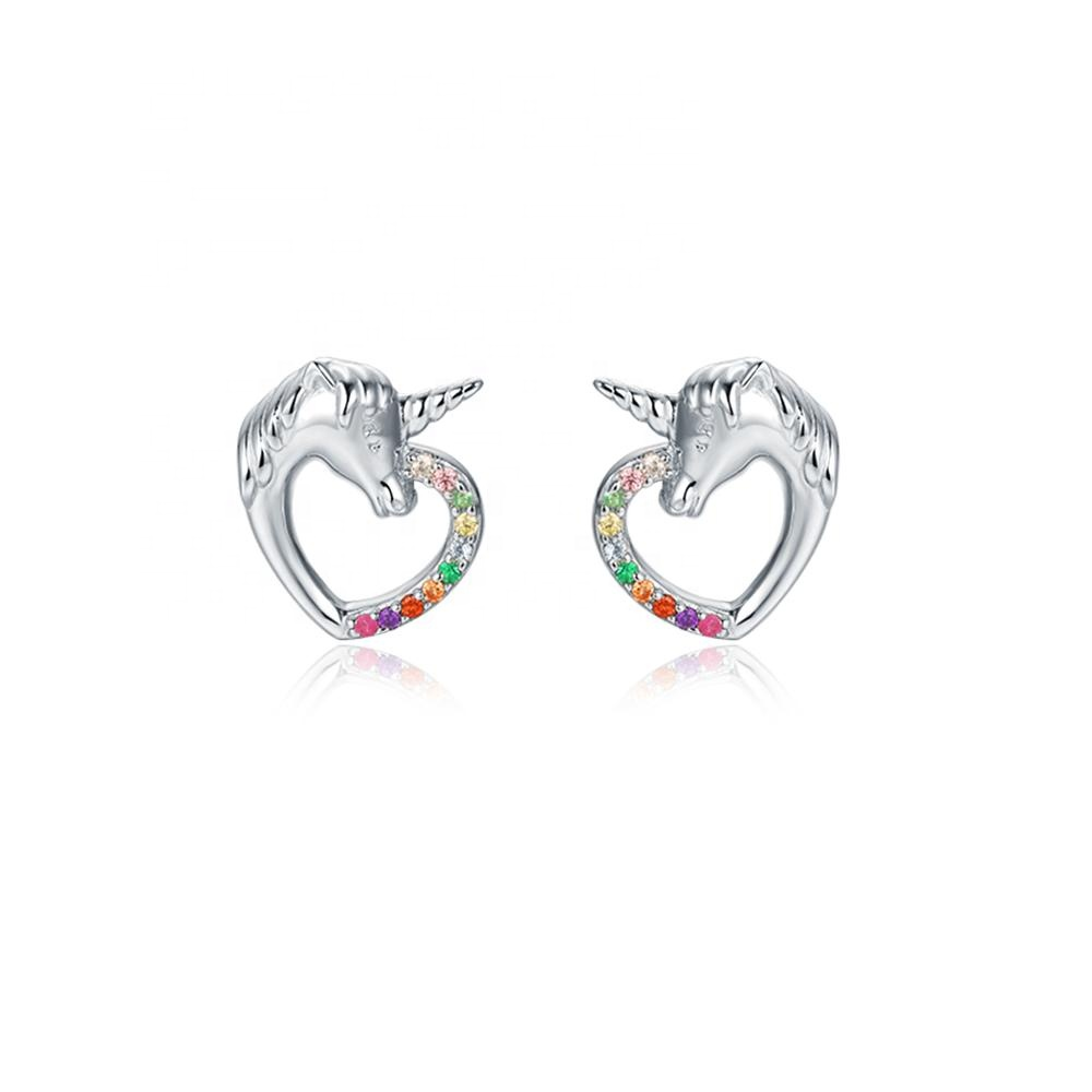 New design cz 925 sterling silver jewelry horse earring