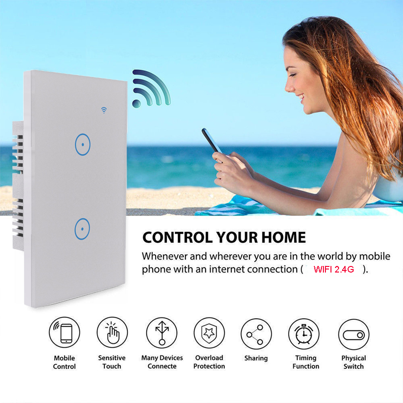Tuya Smart Light Switch 1 2 3 Gang US In-Wall Touch Control WiFi Switch work With Alexa Google Assistant IFTTT For Android IOS