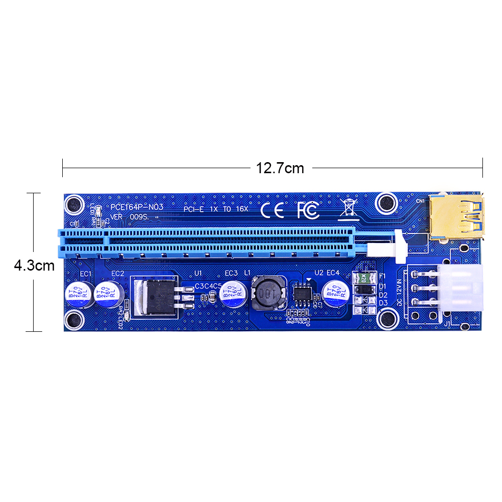 Golden VER009S PCI-E Riser Card 009S PCI Express PCIE 1X to 16X 60CM USB 3.0 Cable 6Pin Molex Power for Bitcoin Mining