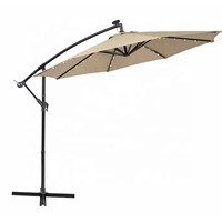 10ft Solar LED Offset Hanging Market Patio Umbrella