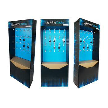 New Design Customized Retail Store Cardboard Hook Display Pegboard Display for Electronics Chargers