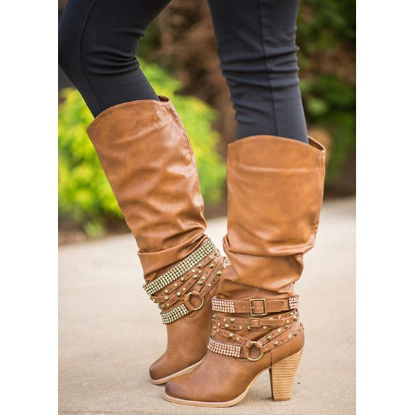 lady winter knee high boots square high heels women sexy shoes HT2