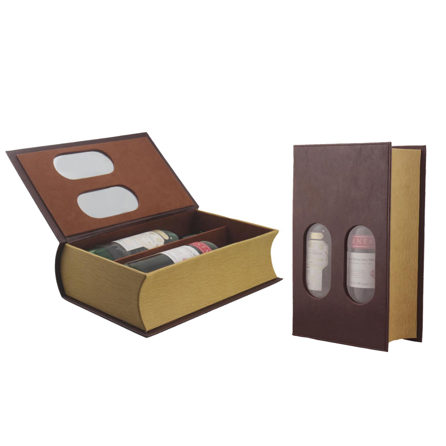 Wholesale 2 bottles packing book shaped leather wine box