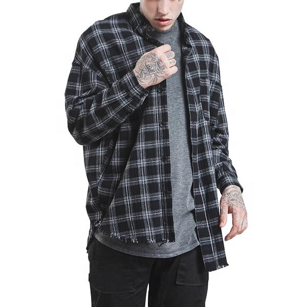 Chemise usine personnalisée 100% coton à manches longues vente en gros plaid flanelle chemise hommes