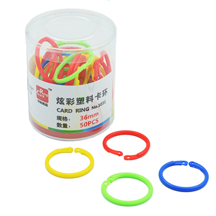 36mm 50pcs Plastic Book Opening Loose Leaf Binding Card Ring