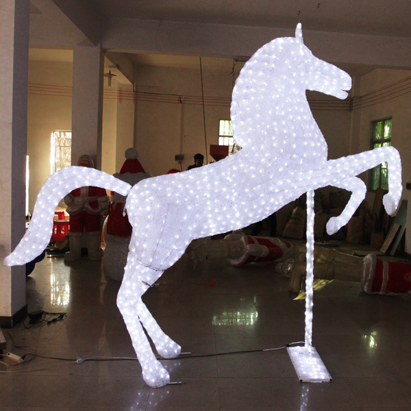 2.1*2m LED Illuminated Horse 3D Light Christmas Motif Light For Out Door Decoration