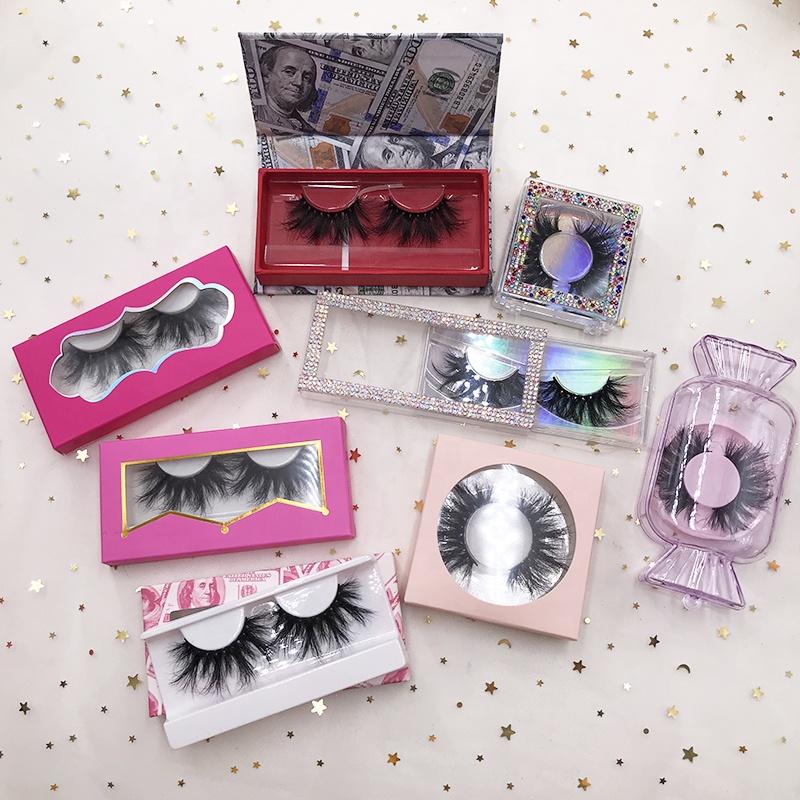 FDshine wholesale holographic lashes packaging case for 25mm 3D 5D mink eyelash rectangle paper box