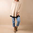 Hot sale winter fashion warm cashmere hoodie women poncho shawl