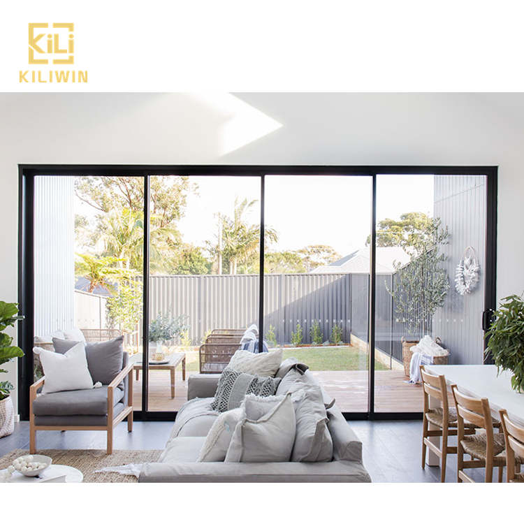 In Stock Australian code cheap price 4 panel sliding french patio <strong>doors</strong> slim aluminium frame double glass sliding <strong>door</strong>