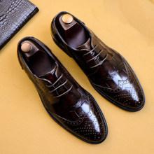 Мужские туфли-оксфорды из натуральной кожи Phenkang, черные модельные туфли, свадебные туфли, Кожаные броги, 2019(Китай)