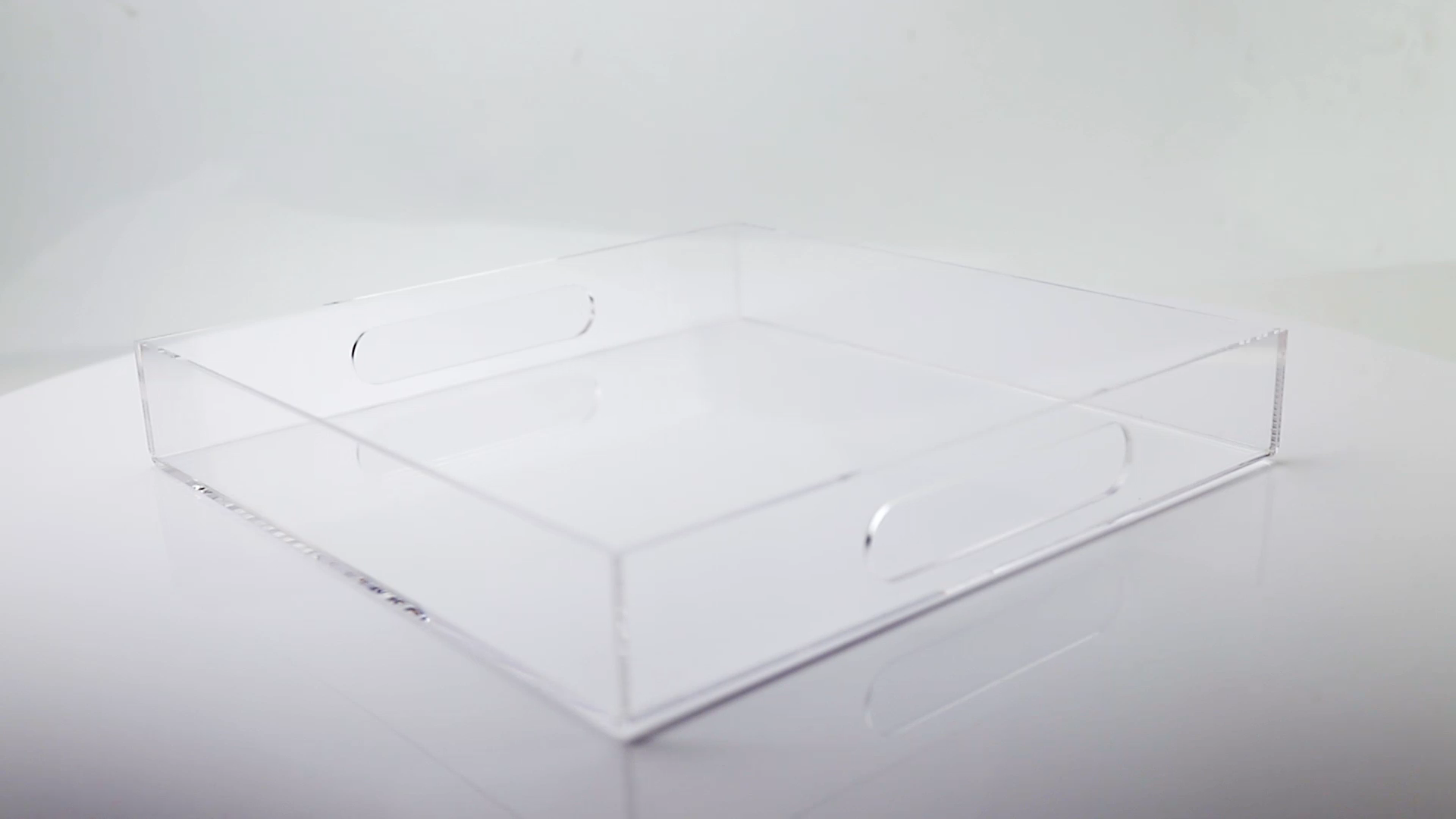 Wholesale Lucite Tray Serving Tray with Handles 12x12 Inch