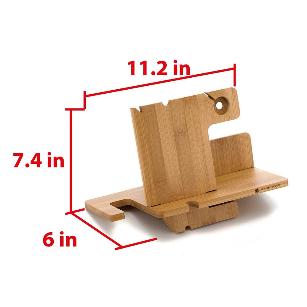 Bamboo Apple Watch Charger Dock Stand Multi Device Charging Station Organizer Holder for Smart phone