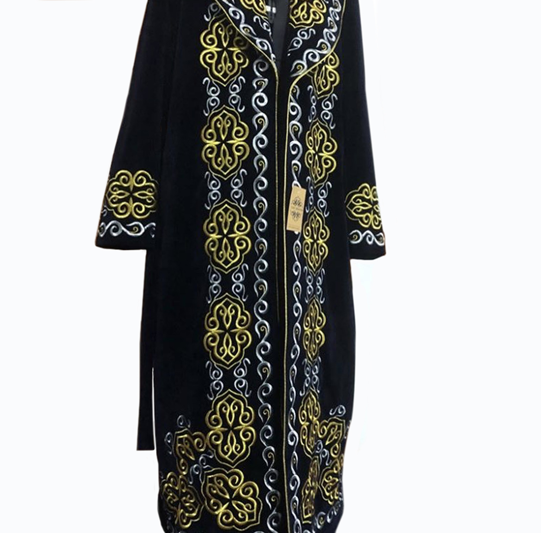 Winter Velvet Fabric Warm Clothing With Border Kazakh National Chapan for Men