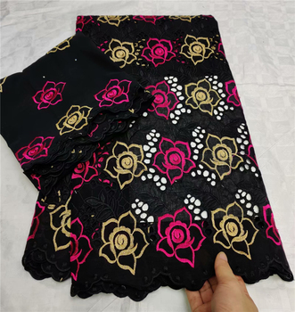 Fashion black african cotton dry lace with 2 yards matching french lace for ladies party