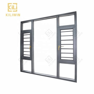 Standard dimensions burglar designs sound proof aluminum inward opening french window with mosquito net