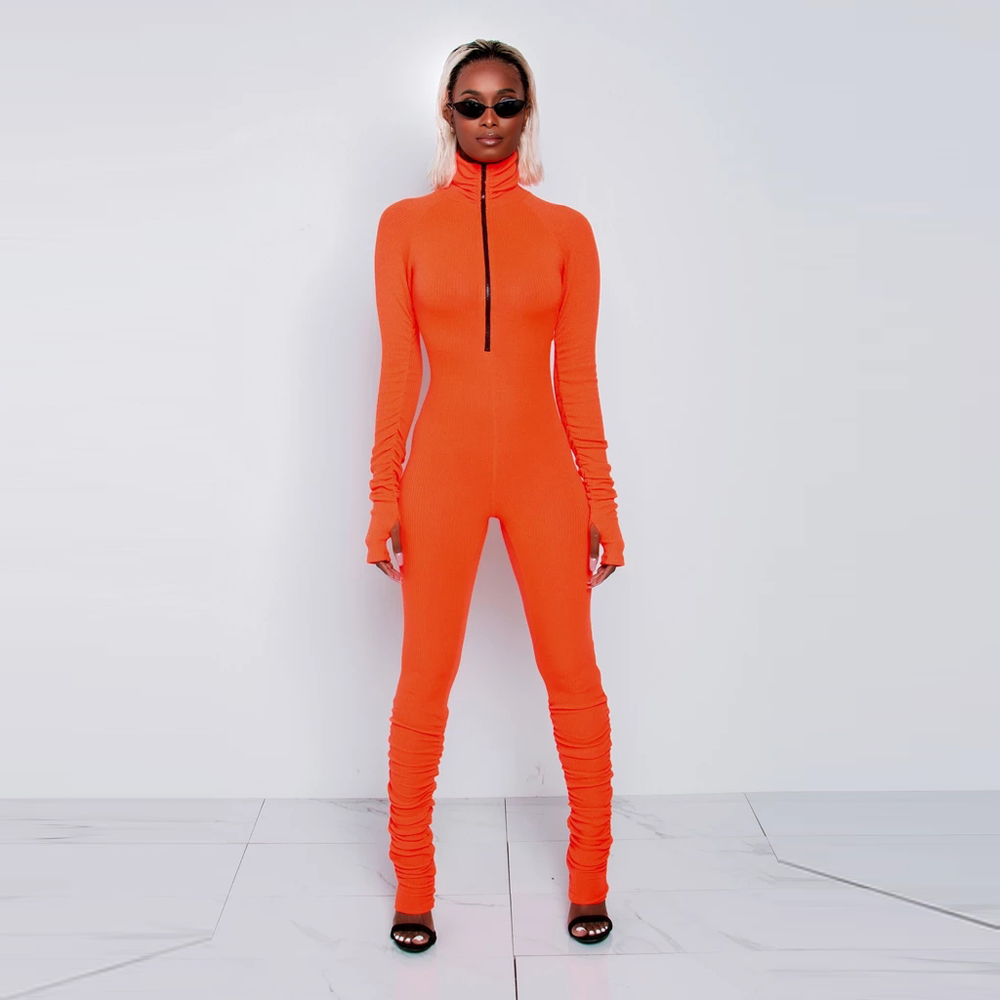 8358 Autumn Winter Tight Long Sleeve Pants Deep O- Neck Half Zipper Sexy Rompers Womens Jumpsuit stacked leg jumpsuit