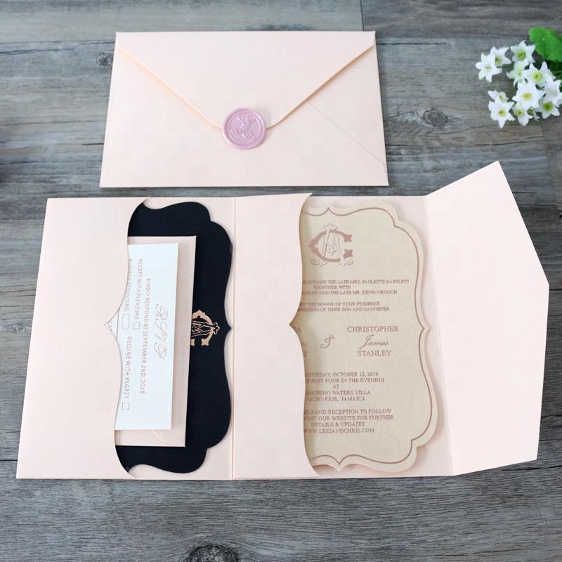 Diy Gepersonaliseerde Pocketfold Stijl Sparen De Datum Magneet Uitnodigingskaarten Voor Bruiloft