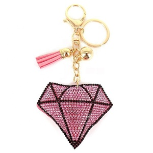 custom embroidered lover personalized heart diamond keychain